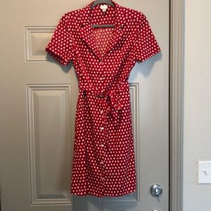 Belted Red and White Polka Dot dress